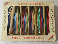 6 Vintage Mercury Glass Christmas Tree Baubles Icicles/teardrop In Original Box