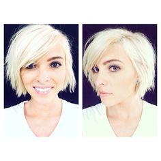 """47 likerklikk, 3 kommentarer – Mikaela Hansen (@mikaelamua) på Instagram: """"Cut and color by @geneviev_kester #platinum #platinumhair #summerhair #shorthair #blonde"""""""