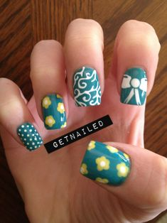 teal and yellow spring nails. love.love.love.