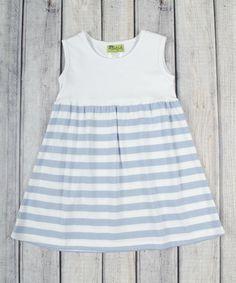 Loving this White & Light Blue Stripe Kelly Dress - Infant, Toddler & Girls on #zulily! #zulilyfinds