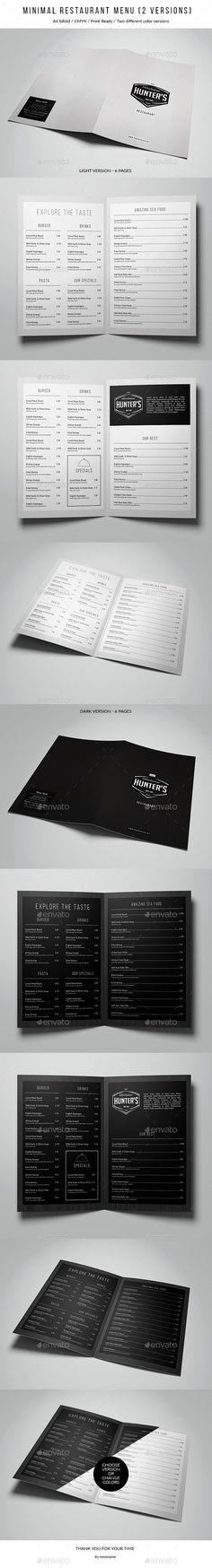 Simple Elegant Bifold Menu - A4 and US Letter - 2 Color Version - a la carte menu template
