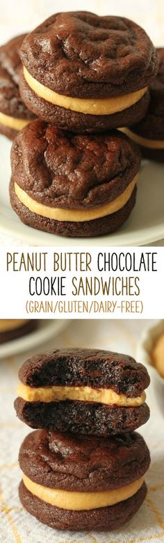 These flourless chocolate peanut butter cookie sandwiches are super fudgy and rich and happen to be grain-free, gluten-free and dairy-free! Grain Free, Dairy Free, No Processed Sugars & Soy Free! Paleo Dessert, Vegan Desserts, Just Desserts, Delicious Desserts, Dessert Recipes, Yummy Food, Plated Desserts, Delicious Chocolate, Gluten Free Sweets