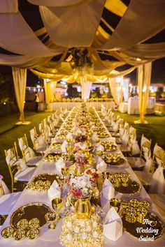 Wedding Decor - Shivam & Purva | WedMeGood | Table Layout in a Wedding with Golden and White Decor  #wedmegood #realwedding #indianwedding #decor #weddingdecor #gold