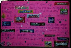 Best friend's birthday candy card gift. Hugs and Kisses are in the lower left corner. Daughter added the bling!