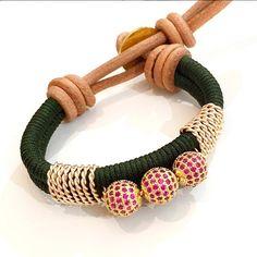 Bracelet By Vila Veloni Handmade Green Macrame With Threesome Pink Fire Balls
