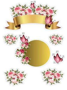 Criatividade De Bolo: Topo De Bolo Flores Para Imprimir Scrapbook Stickers, Planner Stickers, Scrapbook Paper, Eid Crafts, Diy And Crafts, Paper Crafts, Bolo Floral, Floral Banners, Decoupage Paper