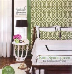 This is my current bedroom inspiration.  Kate Spade green walls with a trellis backdrop and crisp tailored linens.  Love it!