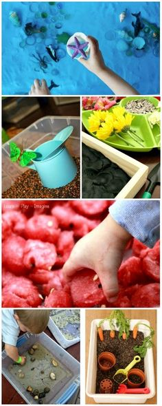 50+ nature based sensory bins ... love the idea. Going to do something similar for Noor in the new place.