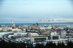 Wintry Reykjavik  Beautiful wintry view of Reykjavik seen from Perlan.