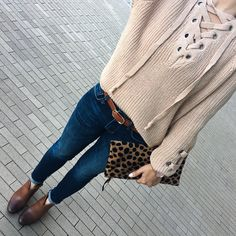 Lace up sweater, cognac franell ankle booties, indigo skinny ankle jeans, leopard clutch, cognac belt, fall fashion, casual outfit, petite clothes - click the photo for outfit details!