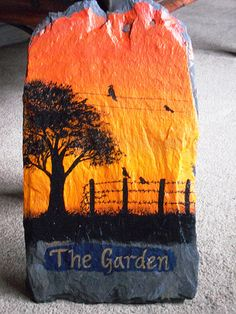 Acrylic slate painting for the garden | A painting on slate … | Flickr