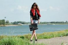 Jeans shorts, red scarf and vintage Fred de la Bretoniere bag