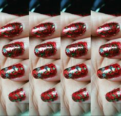 Christmas nails are my favourite  #throwback #red #christmasglitter #rednails #sparkle #christmastree #barrymoore #favourite