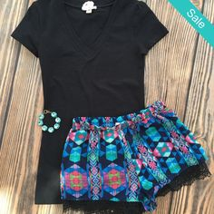 SALE❤️ Yours Truly Aztec Crochet Shorts  2 Med and 1 Large Only $20 shipped (was $29) Medium (4-6) Large (8-10) Comment to order or head online
