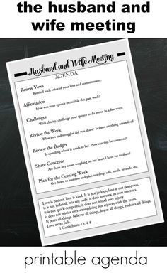 Husband and Wife Meeting–Printable Agenda.  A simple weekly meeting can radically change any marriage.  Click through and download.