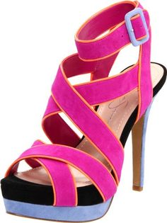 "Electrify your evening in this super charged sandal featuring neon colored piping, double platform elevation, adjustable ankle strap and covered heel. By Jessica Simpson Product Information • Heel Height - 5 1/4"" • Platform - 1 5/8""• Material - Blue & Pink/Suede, Leopard/Printed Cow Hair & Patent • Toe - Open  • Closure - Adjustable AnklestrapCALIFORNIA PROP 65 WARNING: Bakers strives to provide s ..."