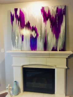 Acrylic Abstract Art Large Canvas Painting // Custom Gray, White and Purple Ikat Painting with Large Canvas Art, Diy Canvas Art, Abstract Canvas, Ikat Painting, Contemporary Abstract Art, Art Plastique, Painting Inspiration, Website, Art Paintings