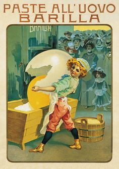 Shop for Vintage Apple Collection 'Barilla Pasta Egg' Canvas Art. Get free delivery On EVERYTHING* Overstock - Your Online Art Gallery Store! Vintage Italian Posters, Pub Vintage, Vintage Advertising Posters, Vintage Advertisements, Advertising Archives, Old Poster, Retro Poster, Poster Vintage, Vintage Packaging