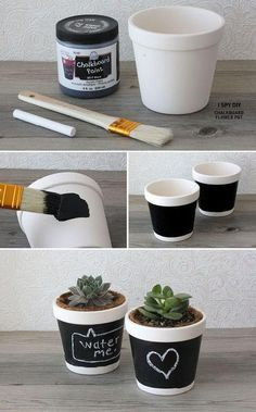 DIY Chalkboard DIY Home DIY Crafts  DIY  Chalkboard Flower Pot