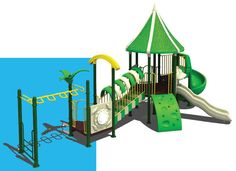 Outdoor playground equipments are combined products , including many kinds of items : such as slide , top , stand , ladder and so on