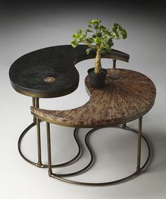 Yin Yang Cocktail Table  Love the Bonsai tree...another thing I love.