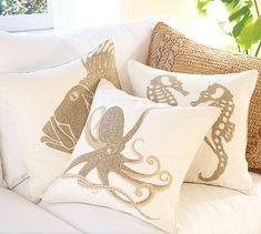 Image detail for -sea life pillows pottery barn Seaside Decor, Beach House Decor, Coastal Decor, Coastal Living, Beach Condo, Florida Living, Coastal Cottage, Dream Beach Houses, Diy Pillows