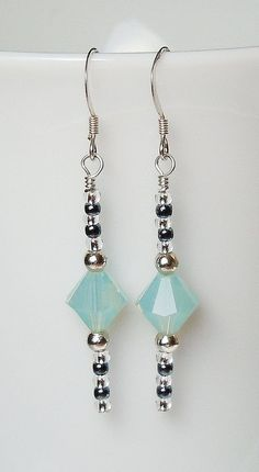 Swarovski Pacific Opal and Silver Earrings by BestBuyDesigns