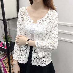 Lace Shirts 2019 Autumn Summer Crochet White Lace Blouse Women Fashion Tops Sexy Hollow Out Knitted Cardigan Chemise Femme Cardigans For Women, Blouses For Women, White Lace Blouse, Summer Cardigan, Crochet Cardigan, White Long Sleeve, Lace Shirts, White Shirts, Autumn Summer