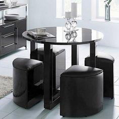 Charisma Stowaway Dining Set In Black Hg