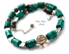 necklace turquoise and smoky quartzmetal beads by katenadesign, $65.50