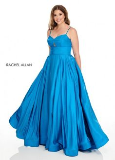 Style 7229 from Rachel Allan Curves is a luster satin plus size ballgown that has a front keyhole and an oversized bow at the lace up back.