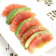 Avocado Grapefruit Salad Recipe - We had this at a party yesterday, our friend added pomegranate arils over the top - delicious!!! -g  This is incredible for its aromas, textures and taste.  Perfect summer food!  Only change I make is to marinate the avocado slices in the dressing for a few minutes before putting it on the plate.