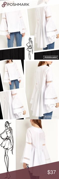 1 Left! White Blouse w/Partial Sheer Sleeves White long blouse. Blouse has long sleeves w/sheer panels. Back is longer & has pleated layers across. Medium measures 35.4 inches; Large is 37.0 inches, & XL is 38.6 inches. ✨ Price firm unless bundled Cosb Tops Blouses
