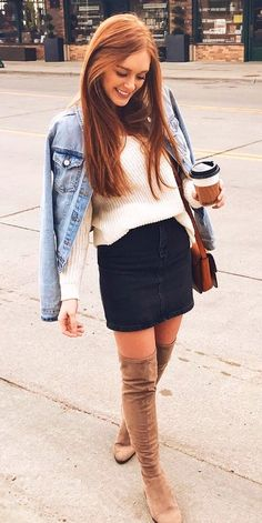 #winter #outfits  white long-sleeved shirt, black denim skirt and beige thigh-high boots outfit