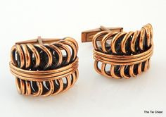 Super cool 3D pattern on these copper toned cufflinks! Very unique design! Vintage Copper Cufflinks. Signed Renoir | The Tie Chest
