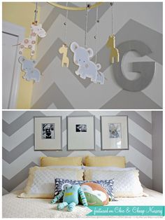 nursery - love the chevron wall paper Baby Bedroom, Baby Boy Rooms, Baby Boy Nurseries, Nursery Room, Bright Nursery, Nursery Neutral, Yellow Nursery, Karim Rashid, Nursery Pictures