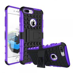 IPHONE 7 PLUS TPU SLIM RUGGED HYBRID STAND CASE COVER PURPLE