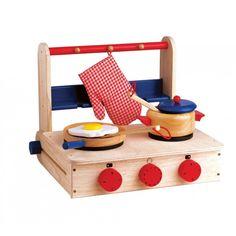 Less space than a full play kitchen! Houten Santoys Tafelfornuis met lepelrek via speelgoed-nijmegen.nl