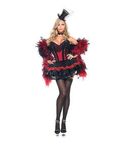 Look at this #zulilyfind! Red & Black Ruffle Showgirl Costume Set - Women & Plus #zulilyfinds