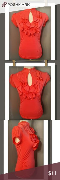 Vibrant Coral Top Such a cute top with a layered ruffle neckline with a key hole clasp front closure, and crimped sides.  95% Polyester 5% Spandex Tops