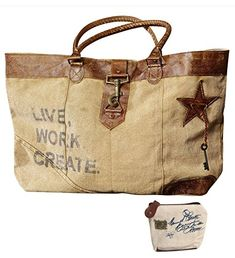 Mona B Live Work Create Upcycled Canvas Shoulder Bag M1966 with Coin Purse *** Find out more about the great product at the image link.