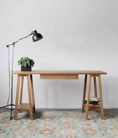 White Oak Sawhorse Desk @flea_pop