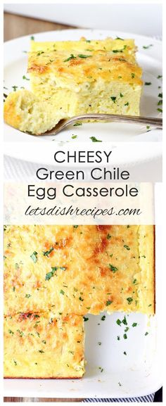 Cheesy Green Chile Egg Casserole Recipe: This simple, easy to make baked egg casserole is always a hit an potlucks and brunches. You won't find another easier, tastier breakfast casserole recipe anywhere! #eggs #breakfast #brunch #casserole #breakfastcasserole