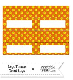 Orange Lego Theme Treat Bag Toppers from PrintableTreats.com