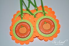 Pumpkin Birthday Favor Tags - Halloween, Autumn Birthday Party Decorations - Set of 12 by sosweetpartyshop on Etsy https://www.etsy.com/listing/162782973/pumpkin-birthday-favor-tags-halloween