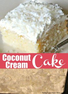 Coconut Cream Cake - This creamy and dreamy cake is a coconut lovers dream. I am a fan of all things coconut and in my opinion it Köstliche Desserts, Delicious Desserts, Dessert Recipes, Recipes Dinner, Breakfast Recipes, Sweet Desserts, Mini Cakes, Cupcake Cakes, Cupcakes