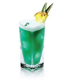 DISARONNO BLUE HEAVEN. fusing DiSaronno, blue curacao, dark rum & pineapple juice.