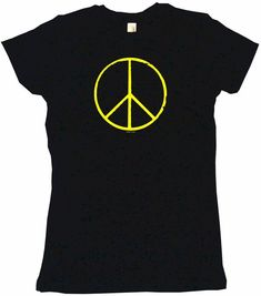 a8bf2c30 Details about Peace Sign Distressed Logo Womens Tee Shirt Pick Size Color  Petite Regular
