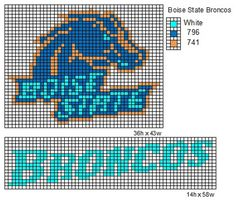 Boise State Broncos logo and name plate Boise State Broncos Boise State University, Boise State Broncos, Seed Bead Patterns, Perler Patterns, Plastic Canvas Crafts, Plastic Canvas Patterns, Broncos Logo, State Crafts, Pixel Design