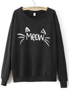 Round Neck Letters Print Black Sweatshirt 10.90 size large or medium